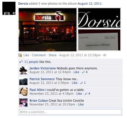 Dorsia Facebook 1