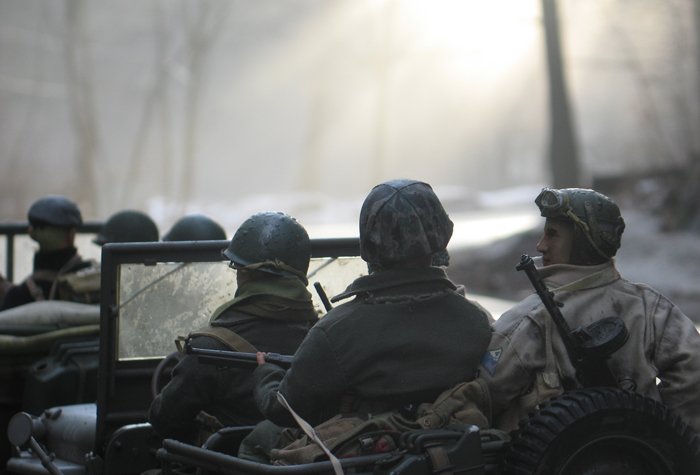 The protectors of Marwencol returning from a patrol and reentering town