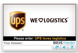 UPS CAPTCHA Code Advertisement